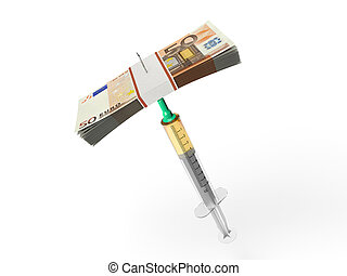Syringe and stack of euro banknotes.