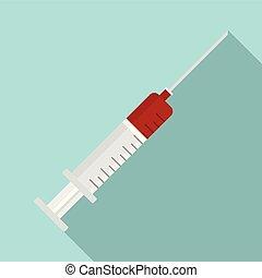 Syringe blood virus icon, flat style