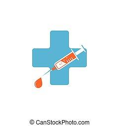 syringe cross medic icon vector illustration design