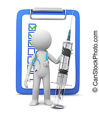 syringe - A 3d white doctor/ syringe/ message board/...