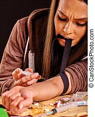syringe., femininas, viciado drogas