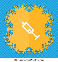 syringe. Floral flat design on a blue abstract background with place for your text.