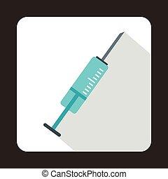 Syringe icon in flat style