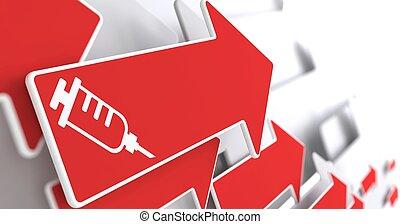 Syringe Icon on Red Arrow .