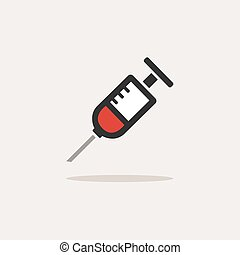 Syringe icon with shadow on a beige background. Medicine color icon