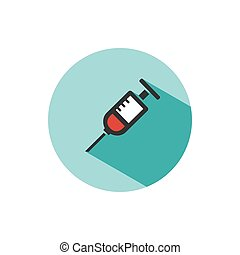 Syringe icon with shadow on a green circle. Medicine color icon