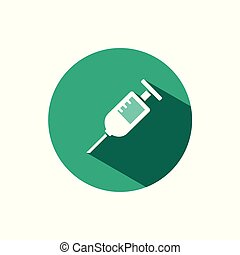 Syringe icon with shadow on a green circle. Vector pharmacy illustration