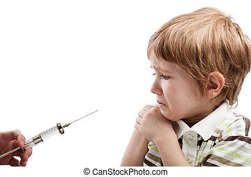 Syringe injecting child - Medicine healthcare syringe ...