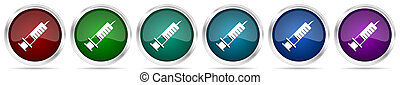 Syringe, injection icons, set of silver metallic glossy web buttons in 6 color options isolated on white background