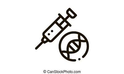 Syringe Injection Vaccine Biomaterial animated black icon on white background