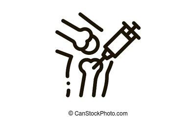 Syringe Injection Vaccine In Bone animated black icon on white background