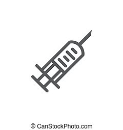 Syringe line icon on white background