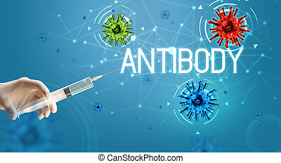 Syringe, medical injection in hand, coronavirus vaccine concept