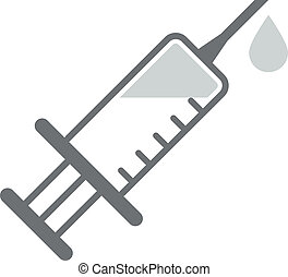 Syringe - minimalistic illustration of a syringe outline, ...