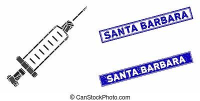 Syringe Mosaic and Scratched Rectangle Santa Barbara Stamp Seals