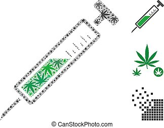 Syringe Mosaic of Hemp Leaves