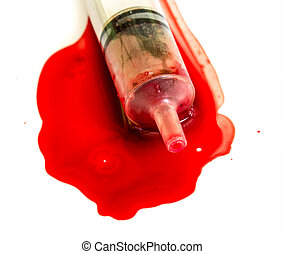 Syringe of Red Blood Test for medical research
