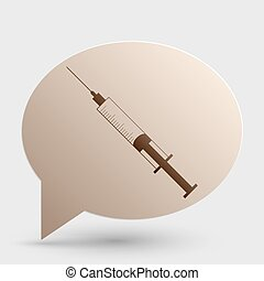 Syringe sign illustration. Brown gradient icon on bubble with shadow.