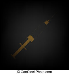 Syringe sign illustration. Icon as grid of small orange light bulb in darkness. Illustration.