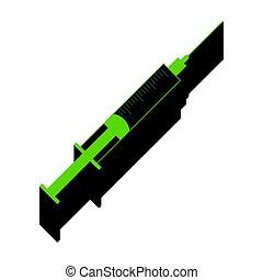 Syringe sign illustration. Vector. Green 3d icon with black side