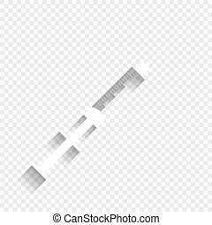 Syringe sign illustration. Vector. White icon with soft shadow on transparent background.