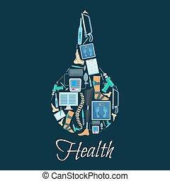 Syringe vector medical poster of medicine items