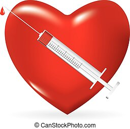 Syringe with a drop of medicine and heart