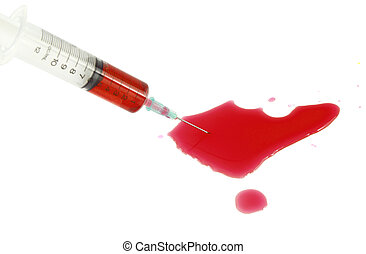 syringe with blood on a white background