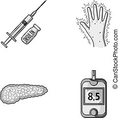 Syringe with insulin, pancreas, glucometer, hand diabetic....