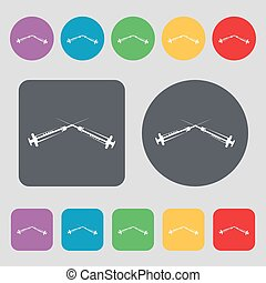 Syringes icon sign. A set of 12 colored buttons. Flat design. Vector