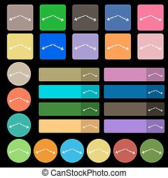 Syringes icon sign. Set from twenty seven multicolored flat buttons. Vector