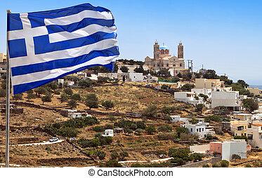 Syros island in Greece. Upper Syros area