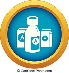 Syrup bottle icon blue vector isolated