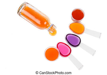 Syrup Medication Bottles and Medicine in Spoons on white background