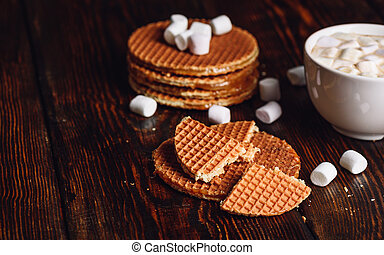 Syrup Waffles and Hot Cocoa with Marshmallow.