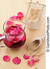 Syrup with rose petals - Pink syrup with fresh rose petals...