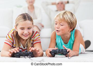 syskon, spelande video vilt