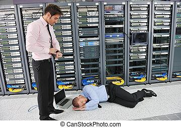système, échouer, situation, dans, serveur réseau, salle