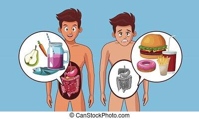 système, animation, digestif, hd, homme, jeune