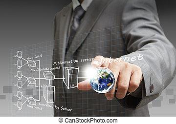 système, diagramme, main, points, internet, homme affaires