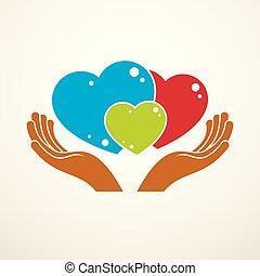 système, famille, une, relations., tendre, logo, différent, coloré, trois, child., icône, aimer, relation, père, hands., soin, créé, tailles, ensemble, vecteur, mère, cœurs, heureux, ou