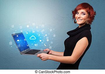 système, femme tenant ordinateur portatif, nuage, notifications, basé