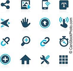 système, icônes, interface, --, azur