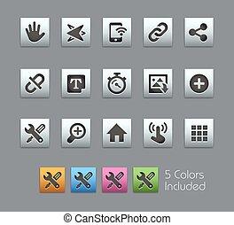 système, icônes, interface, --, satinbox