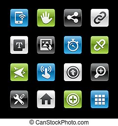 système, interface, lustré, boutons