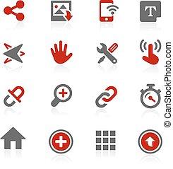 système, interface, vecteur, icônes