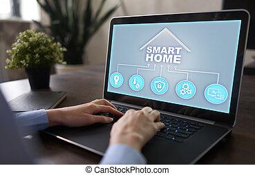 système, iot, automation, maison, concept., intelligent