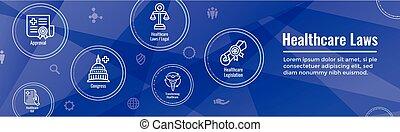 système légal, santé, aspects, divers, ensemble, icône, lois, dépeindre