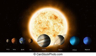 système, planètes, solaire, soleil