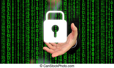 système sécurité, concept, numérique, world.